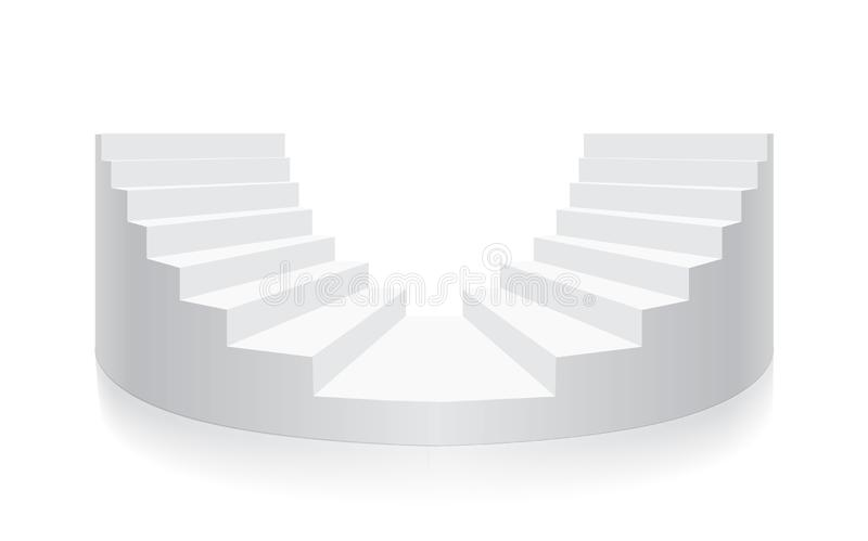 Vettore rotondo isometrico della scala bianca royalty illustrazione gratis