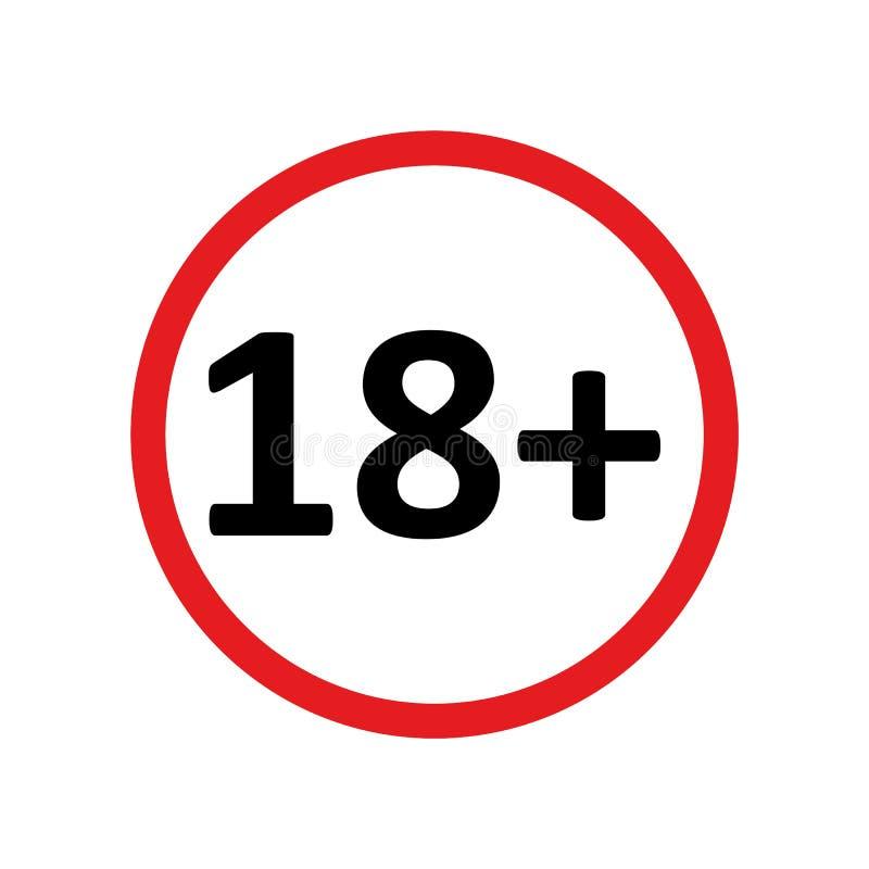 Vettore rotondo rosso eps10 dell'icona limite di età più diciotto su fondo bianco illustrazione vettoriale