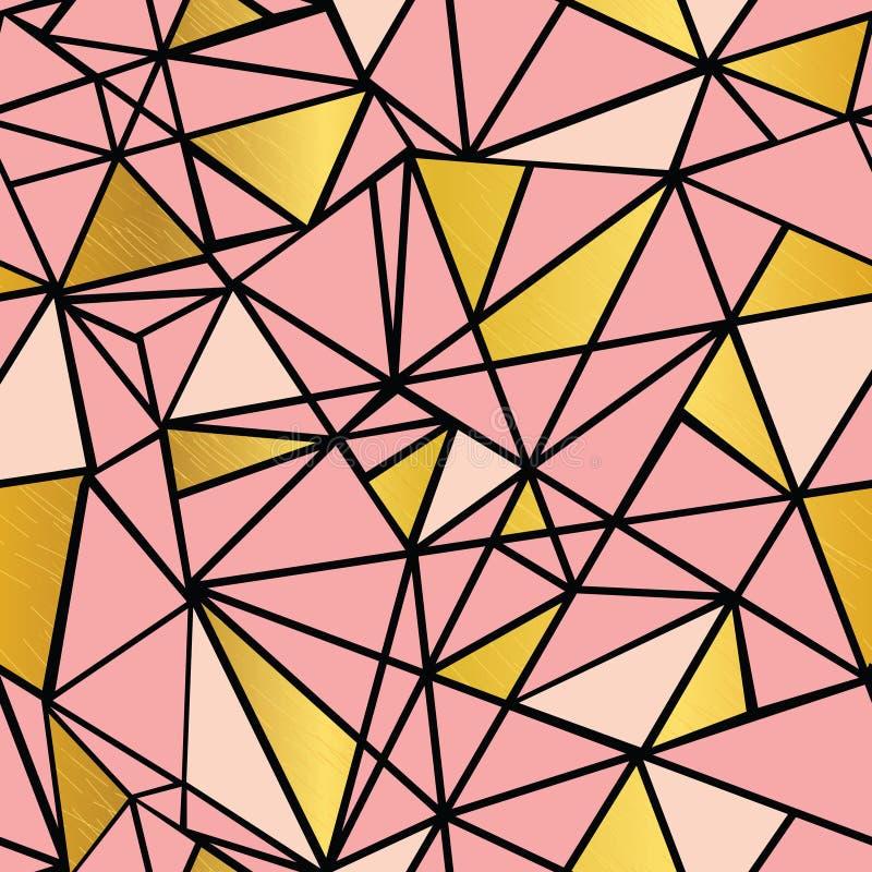 Vettore Salmon Pink e fondo senza cuciture del modello del mosaico della stagnola di oro di ripetizione geometrica dei triangoli  illustrazione vettoriale