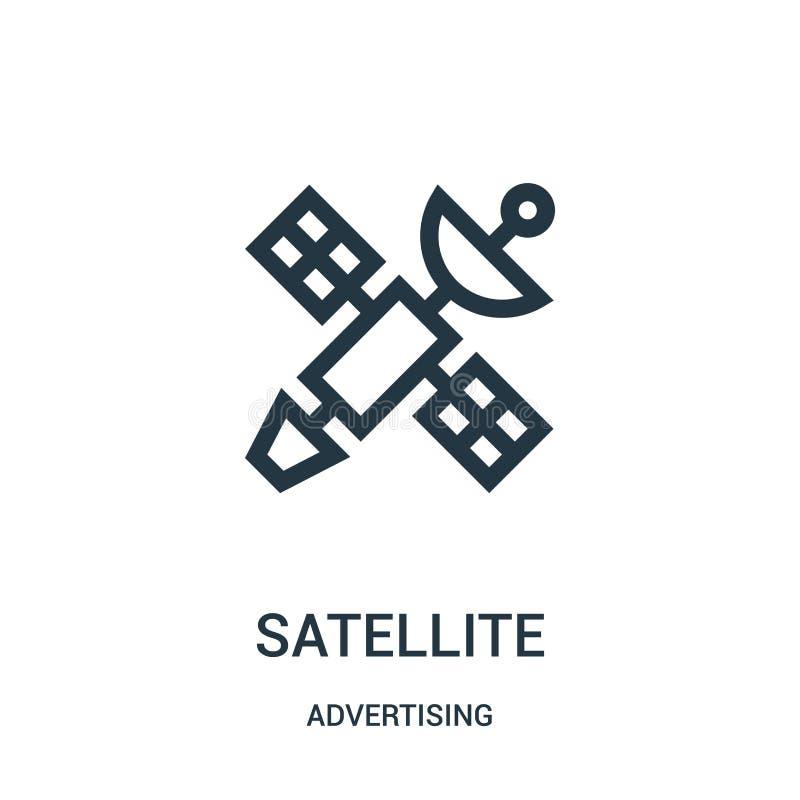 vettore satellite dell'icona dalla pubblicità della raccolta Linea sottile illustrazione satellite di vettore dell'icona del prof illustrazione di stock