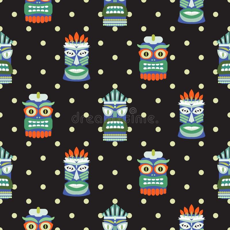 Vettore scuro del modello del totem del pois senza cuciture africano della maschera illustrazione di stock