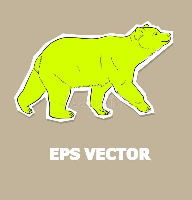 Vettore selvaggio dell'autoadesivo dell'orso royalty illustrazione gratis