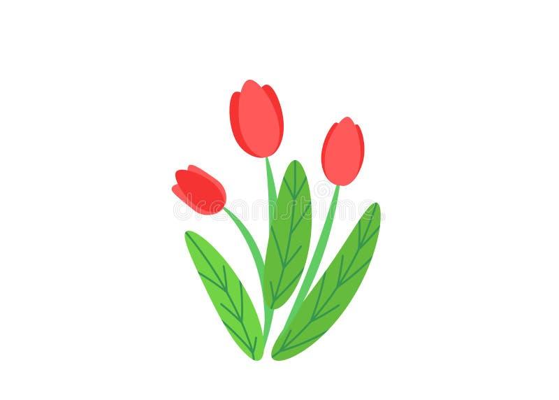 Vettore semplice del mazzo con l'illustrazione di fioritura dei fiori del giardino della molla Elementi floreali della pianta del royalty illustrazione gratis