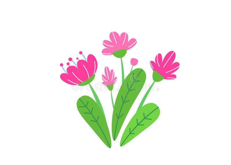 Vettore semplice del mazzo con l'illustrazione di fioritura dei fiori del giardino della molla Elementi floreali della pianta del illustrazione di stock