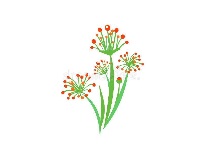 Vettore semplice del mazzo con l'illustrazione di fioritura dei fiori del giardino della molla Elementi floreali della pianta del illustrazione vettoriale
