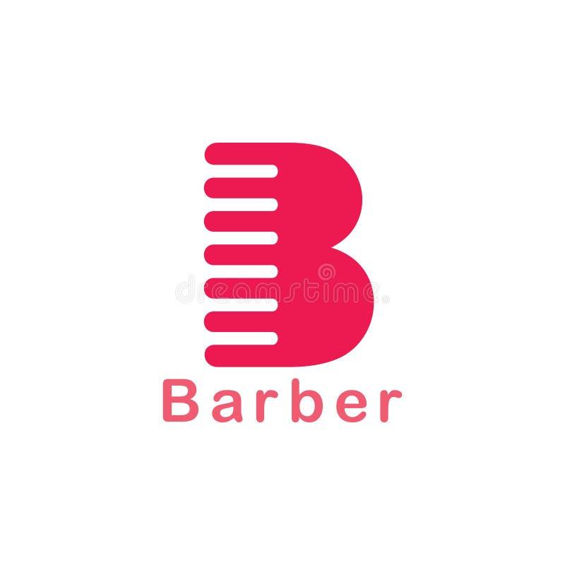 Vettore semplice di logo del pettine del parrucchiere della lettera b illustrazione vettoriale