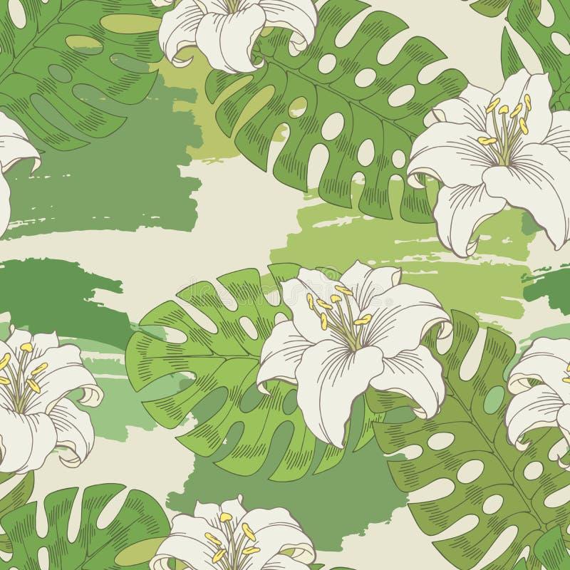 Vettore senza cuciture bianco grafico dell'illustrazione di schizzo del modello di colore verde del fiore del giglio illustrazione di stock
