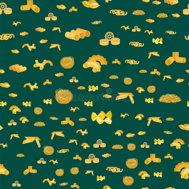 Vettore senza cuciture dei prodotti della cena di nutrizione del fondo dei maccheroni dell'alimento biologico delle tagliatelle d illustrazione vettoriale