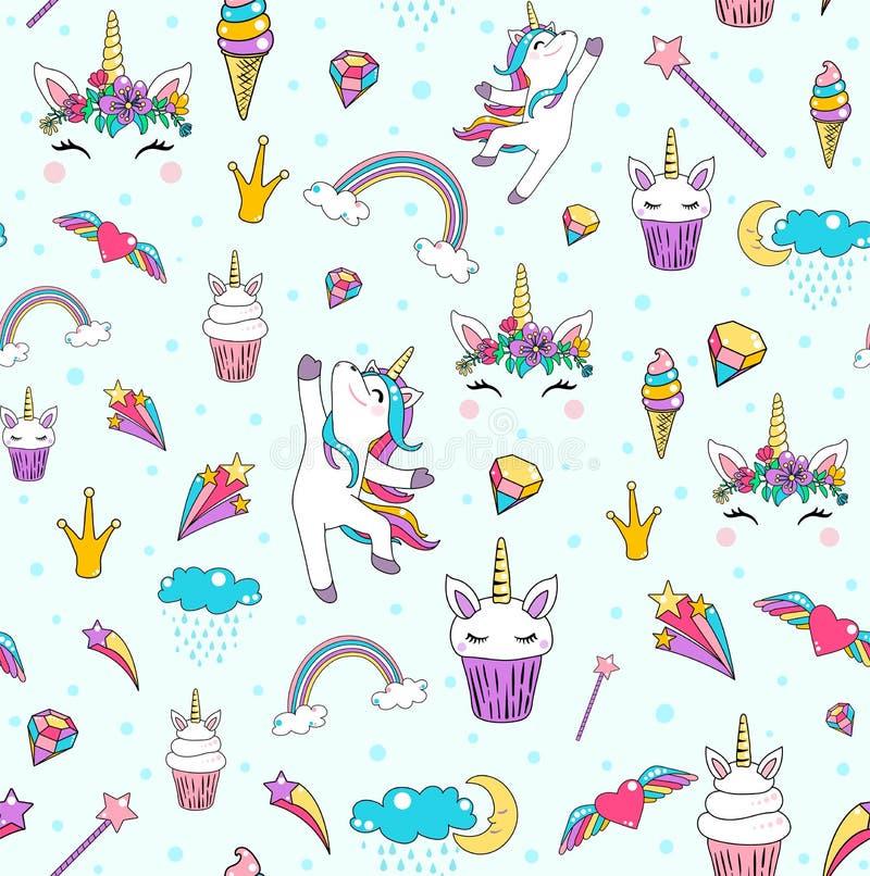 Vettore senza cuciture del fondo del modello dell'unicorno sveglio con il cavallo, bigné, testa, cuore, arcobaleno, diamante, nuv royalty illustrazione gratis
