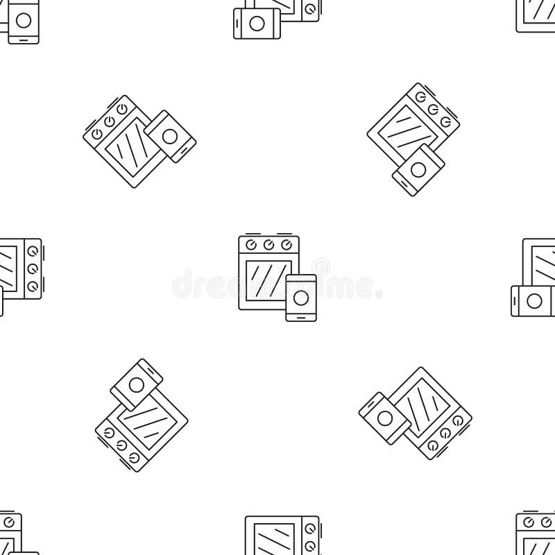 Vettore senza cuciture del fornello del modello astuto della stufa illustrazione di stock