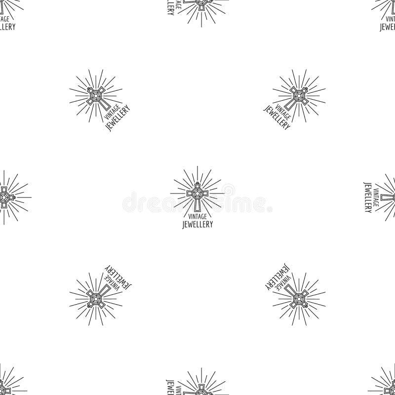 Vettore senza cuciture del modello d'annata dei gioielli illustrazione di stock