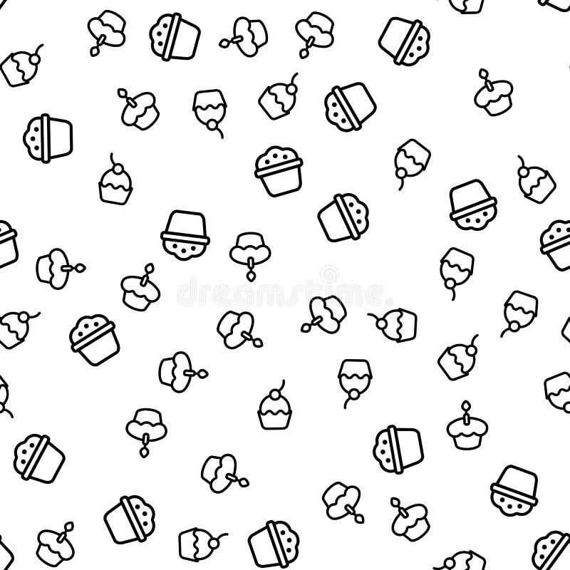Vettore senza cuciture del modello dei muffin deliziosi di varietà royalty illustrazione gratis