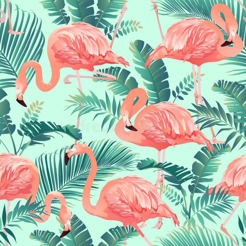 Vettore senza cuciture del modello dell'uccello del fenicottero e del fondo tropicale della palma illustrazione vettoriale