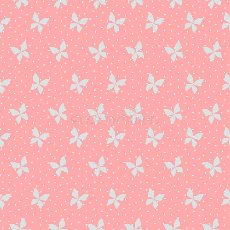 Vettore senza cuciture del modello della farfalla minuscola sul fondo di rosa pastello illustrazione di stock