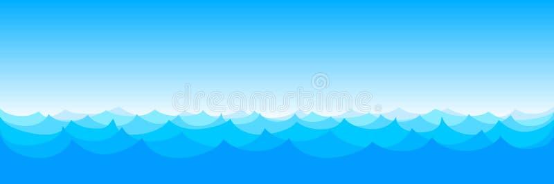 Vettore senza cuciture del modello delle onde Vettore blu- dell'acqua di mare dell'oceano royalty illustrazione gratis