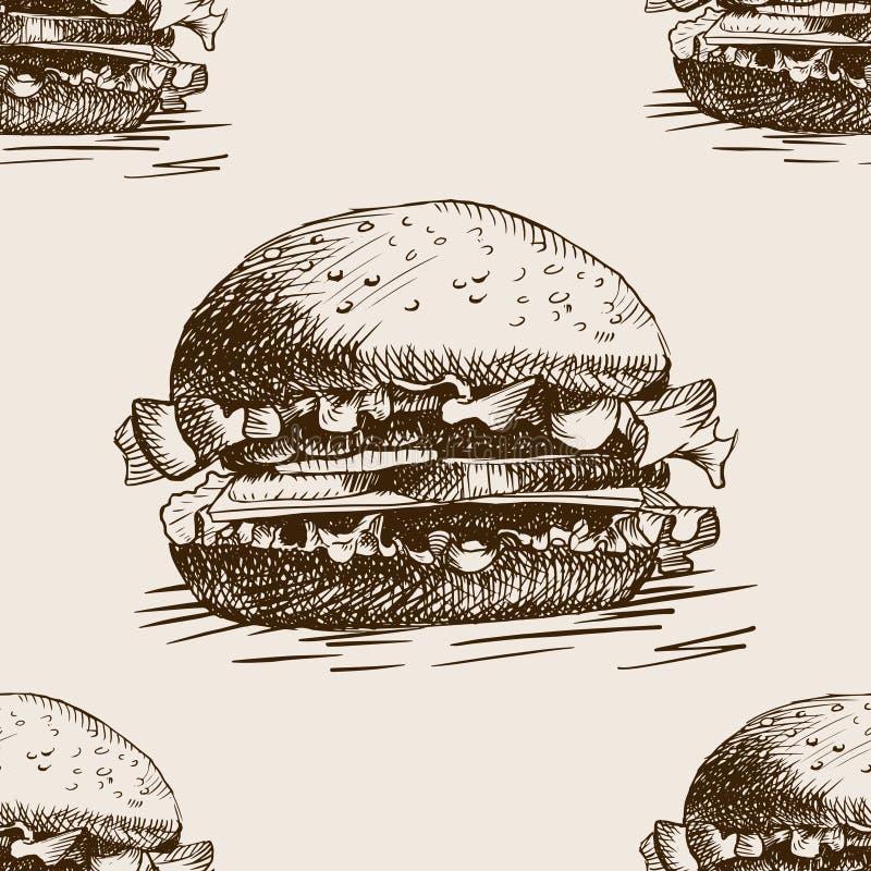 Vettore senza cuciture del modello di schizzo del panino dell'hamburger illustrazione di stock