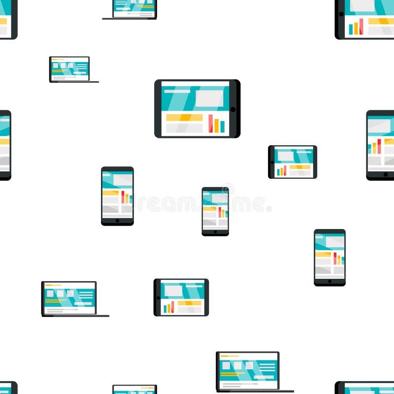Vettore senza cuciture del modello del dispositivo dell'aggeggio Telefono, computer portatile Struttura grafica sveglia contesto  illustrazione di stock