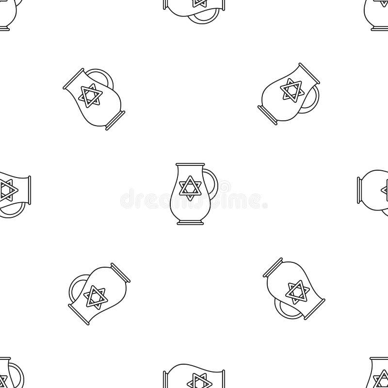 Vettore senza cuciture del modello ebreo della brocca illustrazione vettoriale