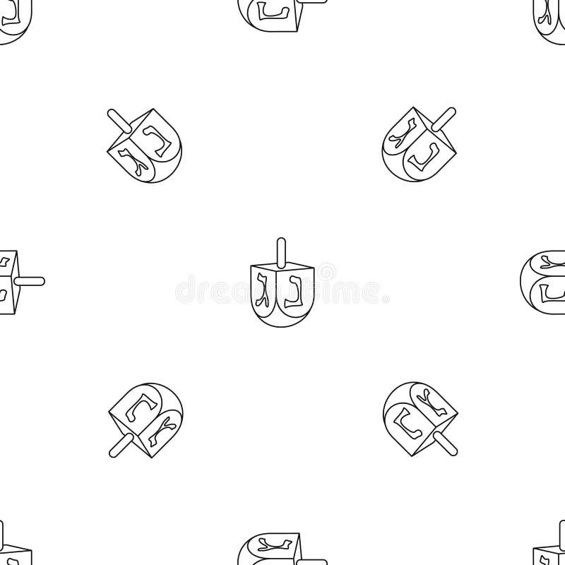 Vettore senza cuciture del modello ebreo del dreidel illustrazione di stock