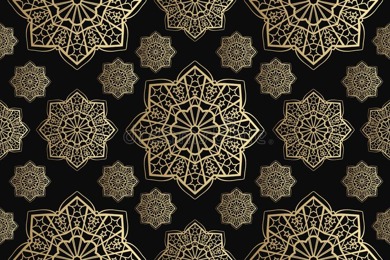 Vettore senza cuciture islamico dell'ornamento, motiff persiano Elementi rotondi islamici del modello del Ramadan Ornamentale cir royalty illustrazione gratis