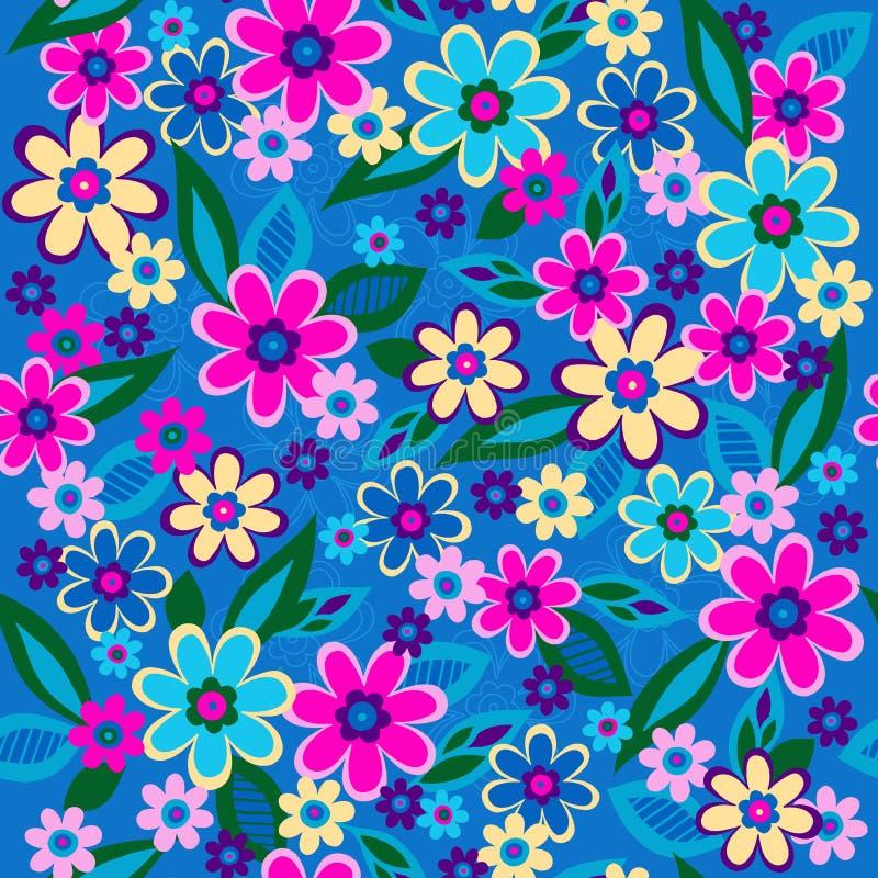 Vettore senza giunte del reticolo di ripetizione dei fiori illustrazione vettoriale