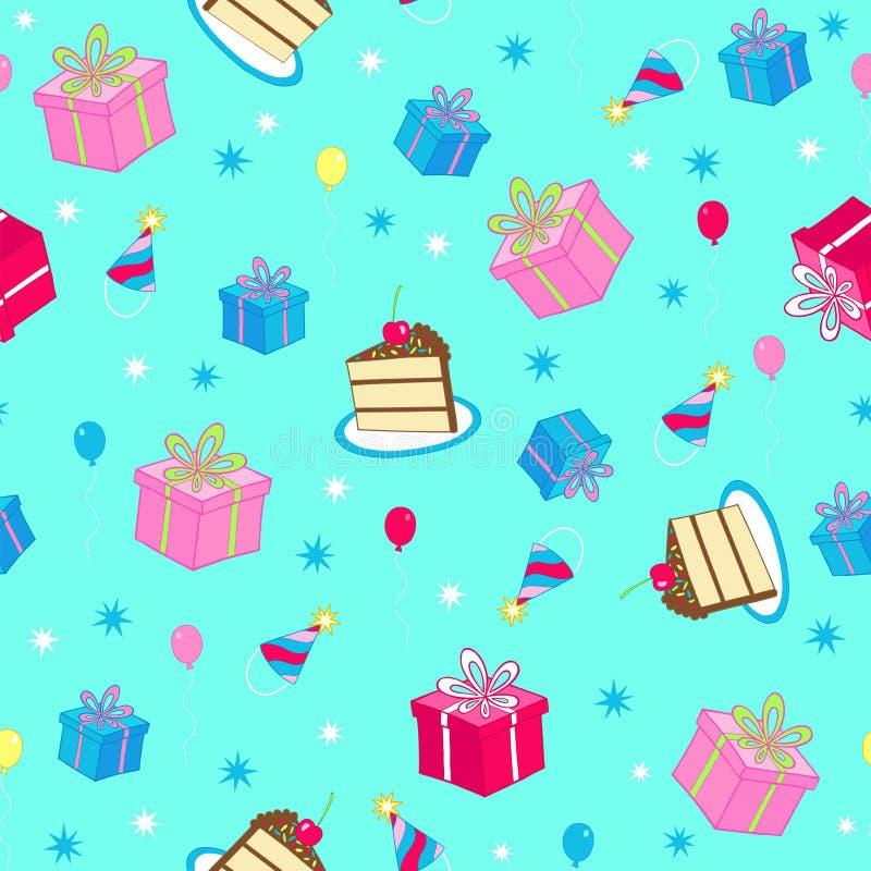 Vettore senza giunte del reticolo di ripetizione della festa di compleanno illustrazione di stock