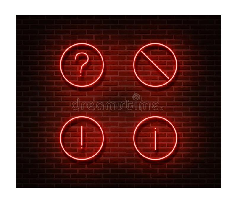 Vettore severo al neon dei segni isolato sul muro di mattoni Simbolo della luce di divieto della strada, effetto della decorazion fotografia stock