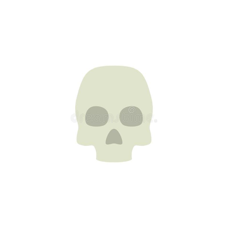 Vettore, simbolo o logo piano dell'icona del cranio illustrazione di stock