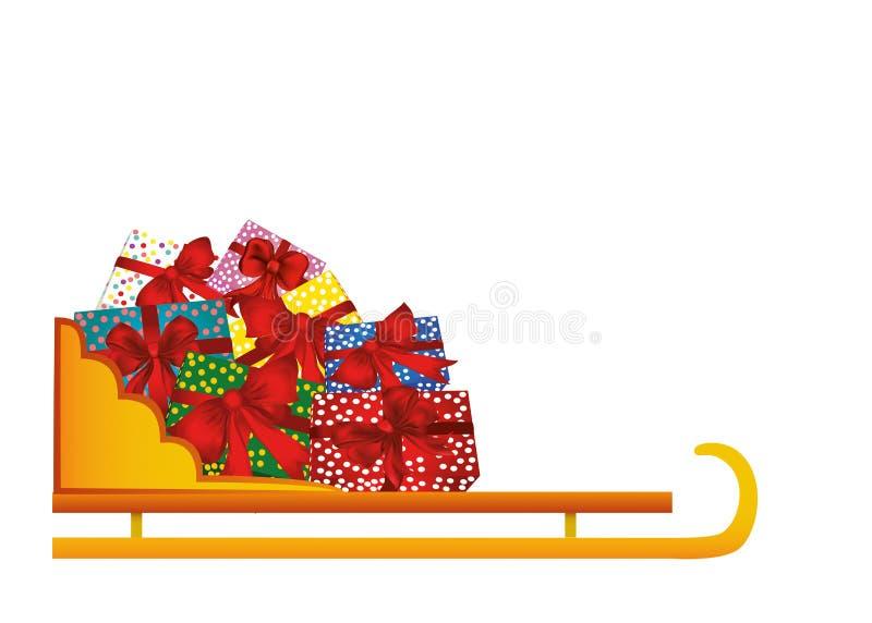 Vettore Slitta in pieno dei regali Natale e nuovo anno di inverno illustrazione vettoriale
