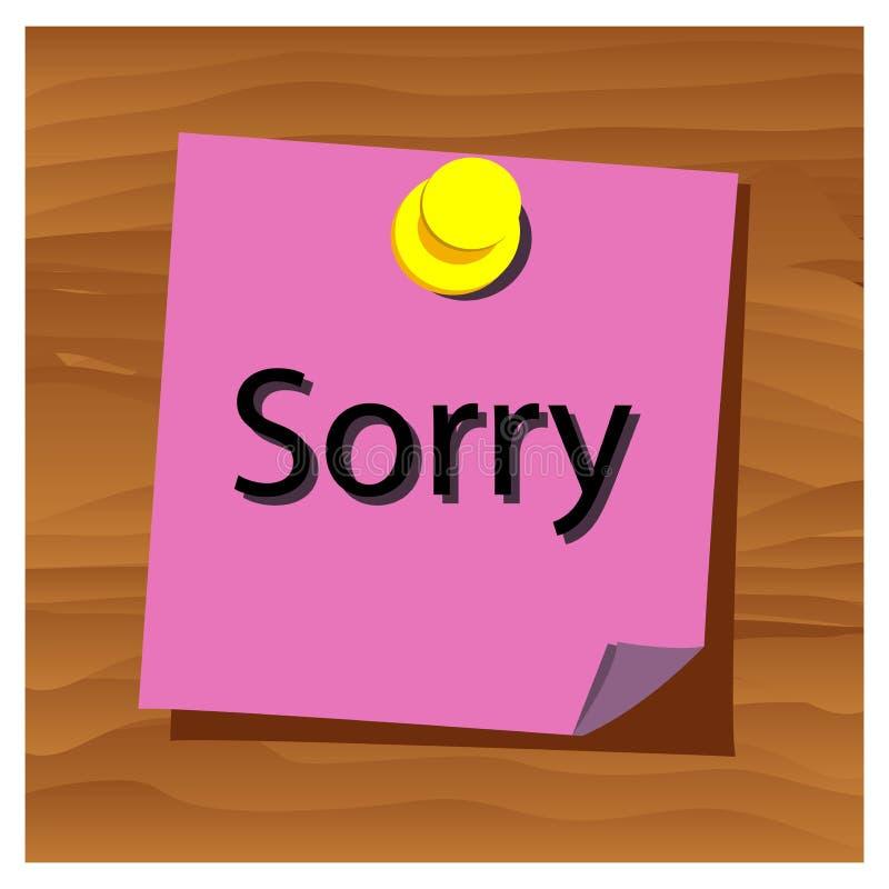 Vettore spiacente di parola di carta di ricordo Illustrazione di vettore illustrazione di stock