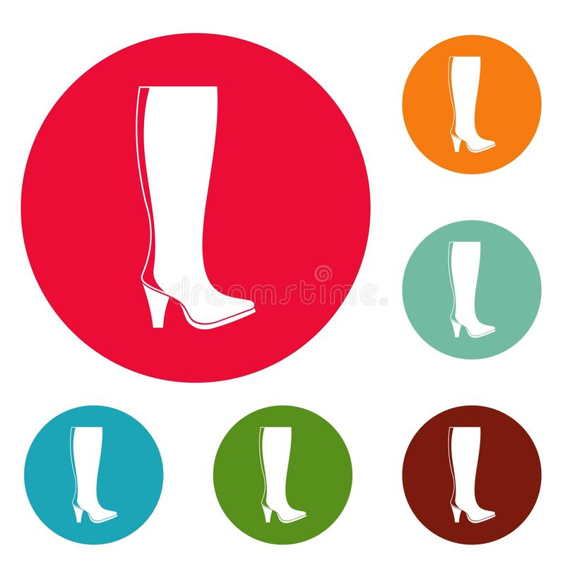Vettore stabilito del cerchio delle icone degli stivali della donna royalty illustrazione gratis