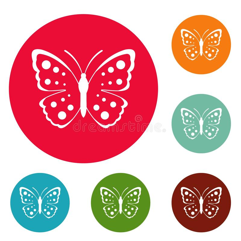 Vettore stabilito del cerchio delle icone della farfalla della primavera illustrazione di stock