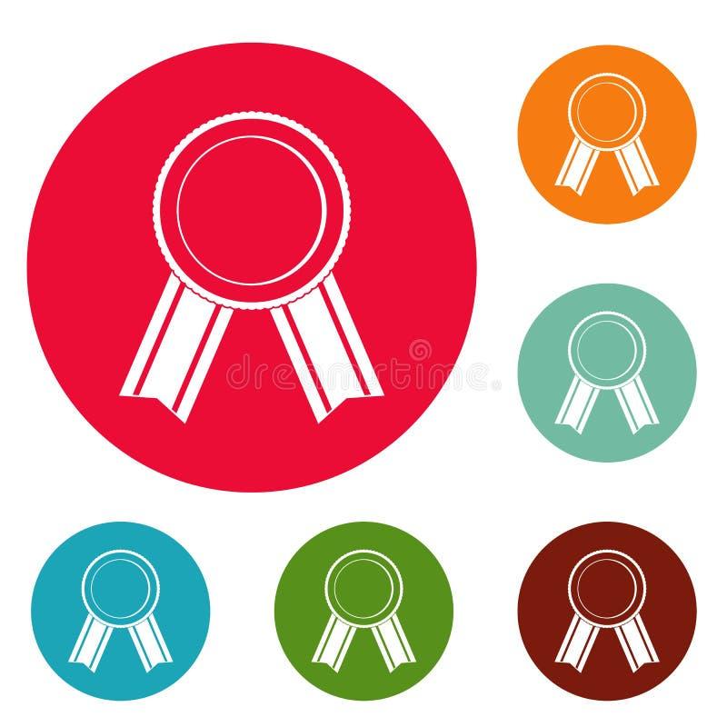 Vettore stabilito del cerchio delle icone del nastro del premio illustrazione di stock