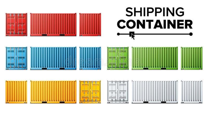 Vettore stabilito del contenitore di carico di trasporto Concetto del container del trasporto Logistica, trasporto Isolato su bia illustrazione vettoriale