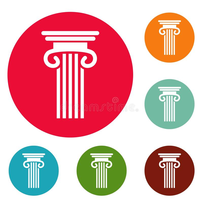 Vettore stabilito del doppio della colonna cerchio colonnato delle icone illustrazione di stock