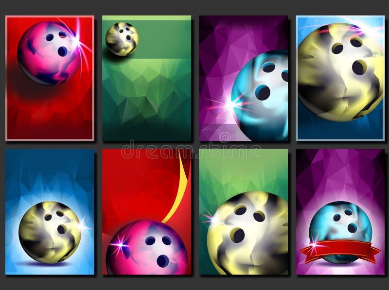 Vettore stabilito del manifesto di bowling Modello vuoto per progettazione promozione Palla del club di bowling Torneo moderno Av royalty illustrazione gratis