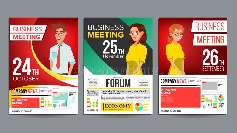 Vettore stabilito del manifesto di riunione d'affari Uomo d'affari e donna di affari Invito e data Modello di conferenza Dimensio illustrazione di stock