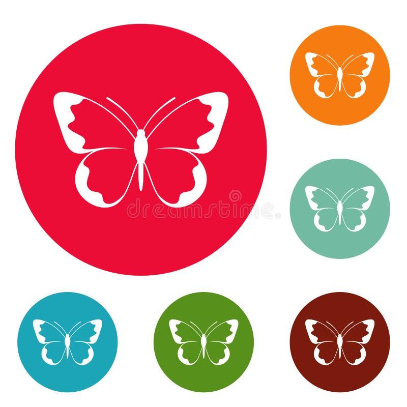 Vettore stabilito del piccolo della farfalla cerchio delle icone illustrazione vettoriale