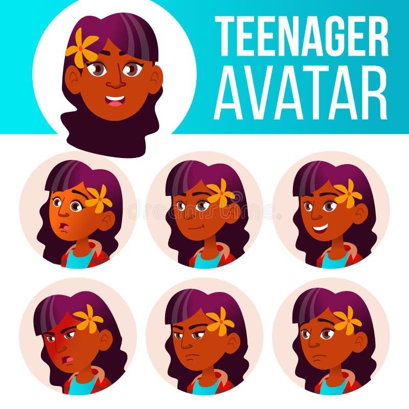 Vettore stabilito dell'avatar teenager della ragazza Indiano, indù Asiatico Affronti le emozioni impressionabile Casuale, amico I royalty illustrazione gratis