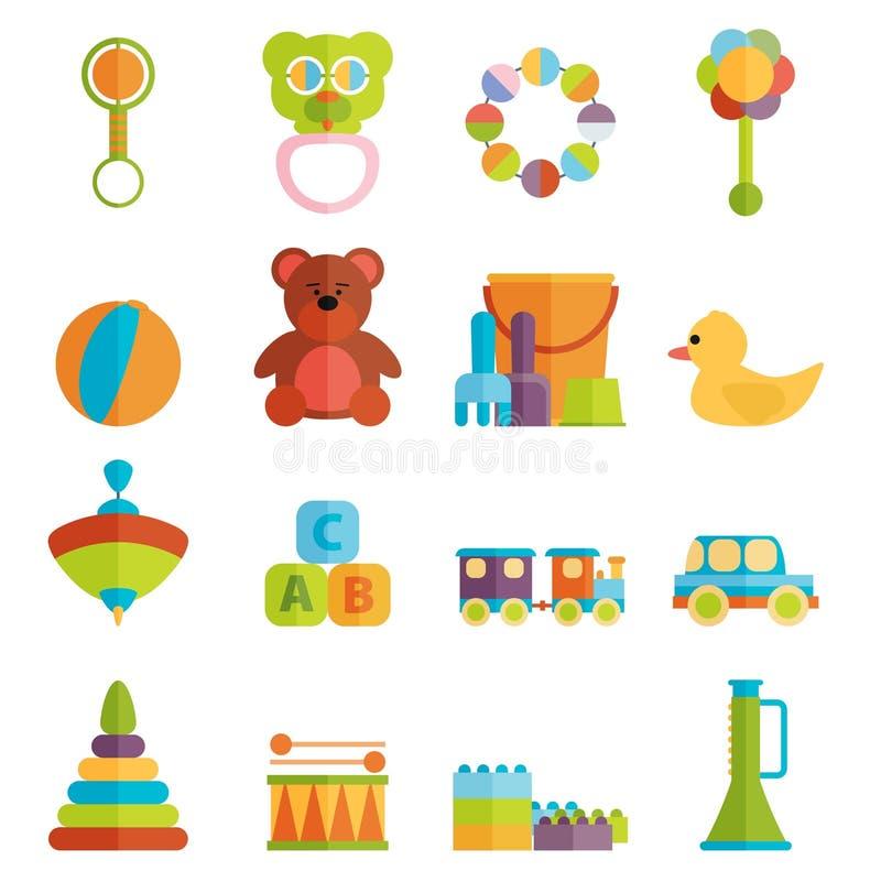 Vettore stabilito dell'icona piana dei giocattoli del bambino royalty illustrazione gratis