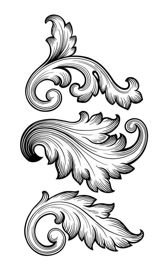 Vettore stabilito dell'ornamento del rotolo floreale barrocco d'annata illustrazione di stock