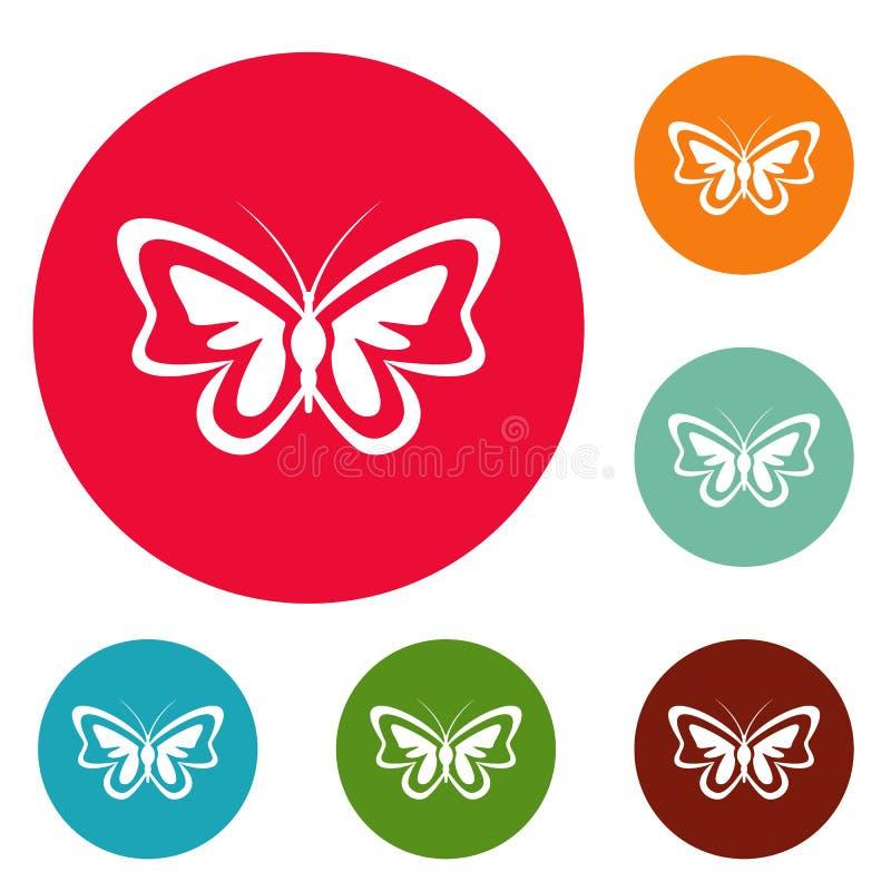 Vettore stabilito della farfalla del cerchio insolito delle icone illustrazione di stock