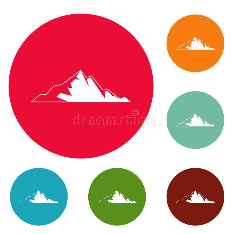 Vettore stabilito della montagna del cerchio piacevole delle icone illustrazione vettoriale