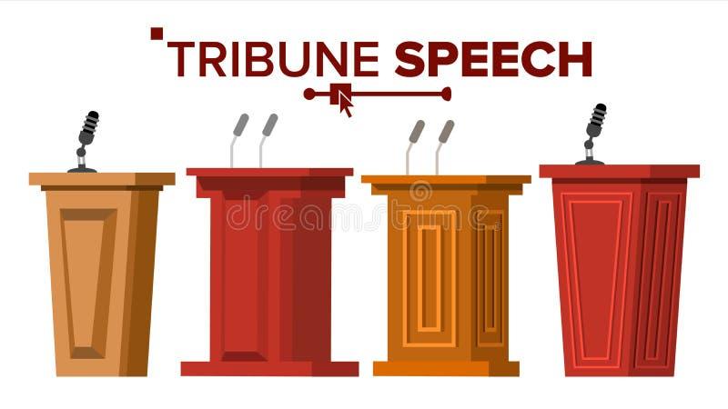 Vettore stabilito della tribuna Supporto del rostro del podio con i microfoni Presentazione di affari o conferenza, discorso di d illustrazione di stock