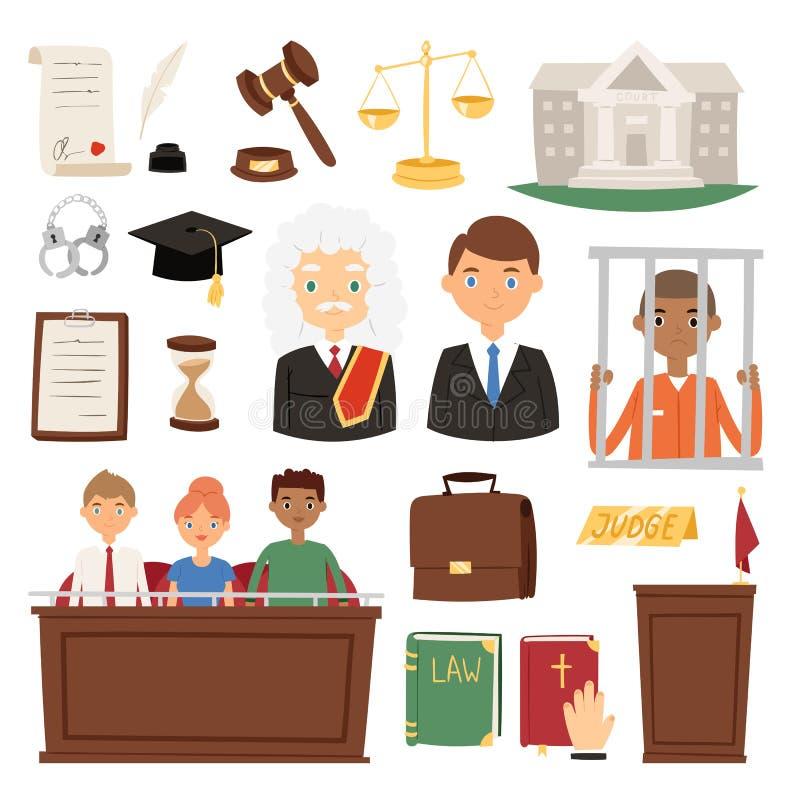 Vettore stabilito di concetto della giuria e del criminale del lawer della gente del sistema di giustizia di giudizio dell'icona  illustrazione di stock