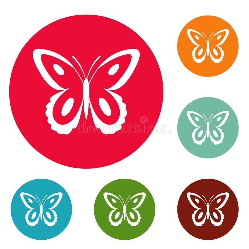 Vettore stabilito macchiato del cerchio delle icone della farfalla illustrazione di stock