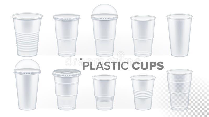 Vettore stabilito trasparente della tazza di plastica Tazza della bevanda Contenitore vuoto della radura eliminabile delle stovig illustrazione vettoriale