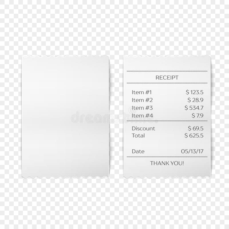 Vettore stampato della ricevuta illustrazione di stock