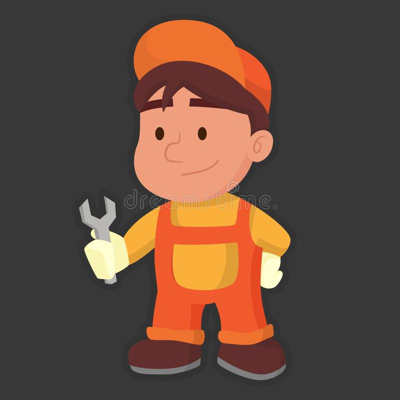 Vettore sveglio del riparatore arancio illustrazione di stock