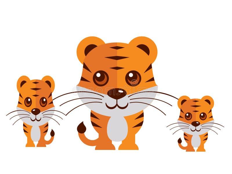 Vettore sveglio della tigre su un fondo bianco royalty illustrazione gratis